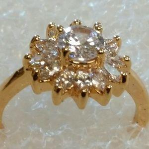 Gold and white sapphire, white topaz ring